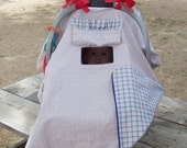 Baby Carseat Canopy Tent Blue & Red Cotton Cover with peek-a-boo hole