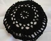 Hair Net / Bun Cover Black Flower Style Crocheted Amish Mennonite