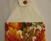 Autumn Leaves Hanging Hand Towel with White Cotton Fabric top