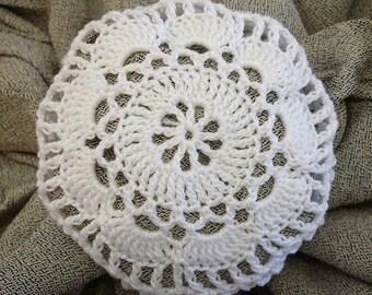 Hair Net / Bun Cover Crocheted White Flower Style Amish Mennonite