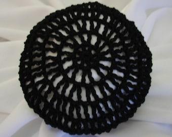 Hair Net / Bun Cover Black Crocheted Traditional Net Amish Mennonite
