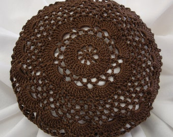 Brown Hair Net / Bun Cover Sz Large Crocheted Flower Style Amish Mennonite