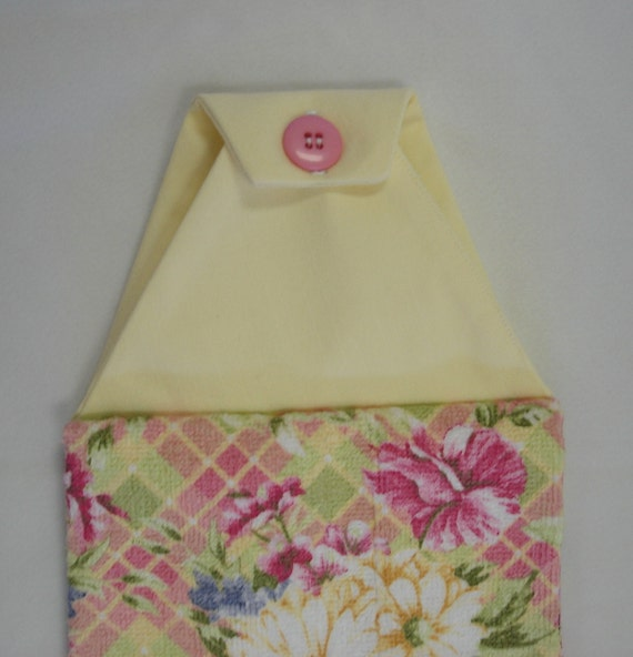 Floral Hanging Hand Towel Double with Yellow Fabric Buttoned Top