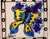 Kitchen Trivet Ceramic Hand Painted Moth Ceramic Tile Coaster