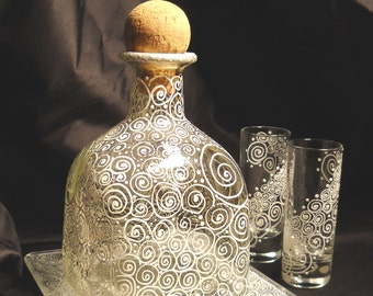 Custom Decanter Serving Set Hand Painted Bottle with Shot Glasses and Base Plate ~ 4 Pieces