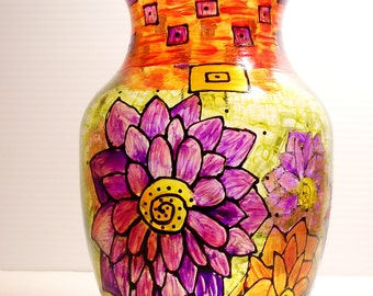 Flower Vase Home Decor Hand Painted Glass Jazzy Mums Tabletop Decor