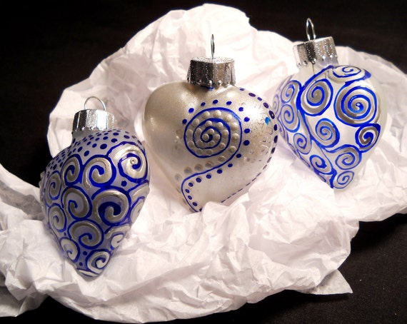 Silver Blue Ornament Hand Painted Glass Set  3 Piece