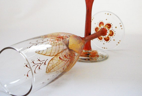 Champagne Toasting Glasses Hand Painted Flute Wedding Glassware - Ready to Ship