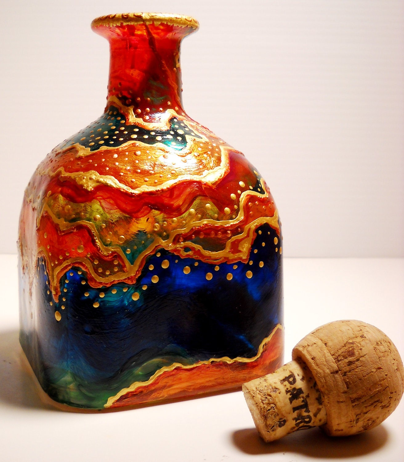 Art decanter hand painted glass bottle art on glass home decor for Hand painted glass bottles