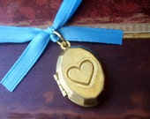 Memorial Locket Charm - Antique Style Brass Oval Heart - Includes Picture Printing Service
