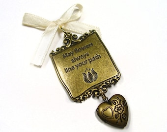 Bridal Bouquet Memorial Locket Charm - Flowers Line Your Path - Includes One Picture Printing Service
