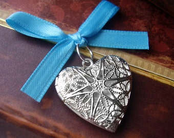 Bouquet Locket Charm - Silver Filigree Heart - Includes Picture Printing Service
