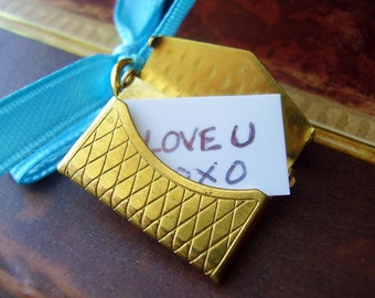 Love Note Charm - Functioning Brass Envelope Really Opens