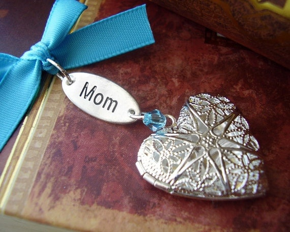 BILINGUAL - English / Chinese MOM Locket Charm - Something Old Something New Something Blue - Includes One Picture Printing Service