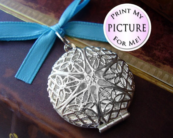COMBO PACK Something Blue Memorial Photo Charm - Silver Filigree Round - Includes Picture Printing Service