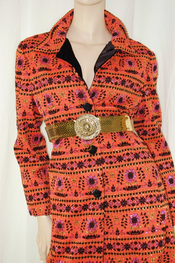 Vintage Glamour Stunning  CoAt DreSS or Coat  VelVet Collar with Metallic Gold Embroidered  Flowers