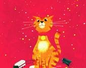 Choo Choo Chauncey the Railroad Cat - Print