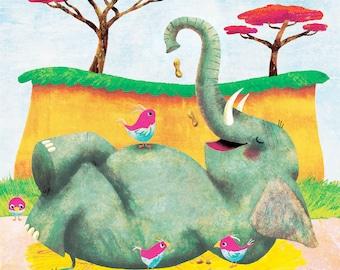 This Elephant Likes Peanuts - Limited Edition Print