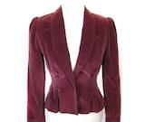 Vintage 60s MAUVE Velveteen Peplum Blazer with Princess Sleeves Small