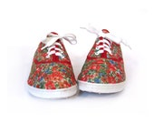 Vintage 80s JARDIM Floral Lace Up Sneaker Flats 7