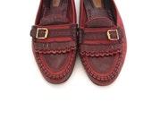 Vintage 80s Oxblood Leather Preppy Chic Fringe Loafers men 11 women 13