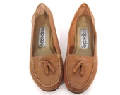 Vintage 80s Preppy TOASTED Leather Tassel Loafers 5