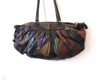 Vintage 80s Oversized EARTHEN Patchwork  Leather Boho Chic Duffel Bag