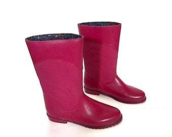 Vintage FUCHSIA Pink Fleece Lined Galoshes Rain Boots womens 7.5