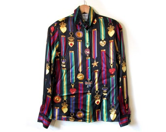 Vintage 90s Black Silk ROYAL CREST Button Up Blouse womens small