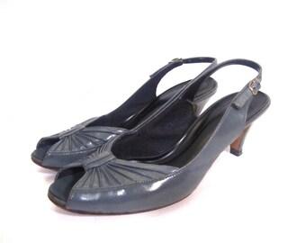 Vintage GREY STREET Peep Toe Leather Sling Back Heels 6