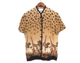 Vintage 80s SAFARI Animal Print Button Up Blouse medium