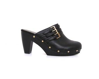 Vintage 90s Black Faux Leather Studded Platform Clog Heels 10