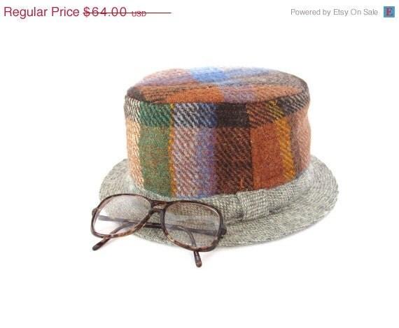 ON SALE Vintage 60s GRUMPY Old Men Irish Wool Tartan Plaid Fedora Hat