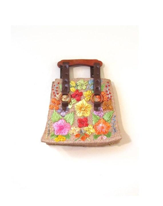 Vintage 80s Woven Straw and Raffia Floral Tote Handbag