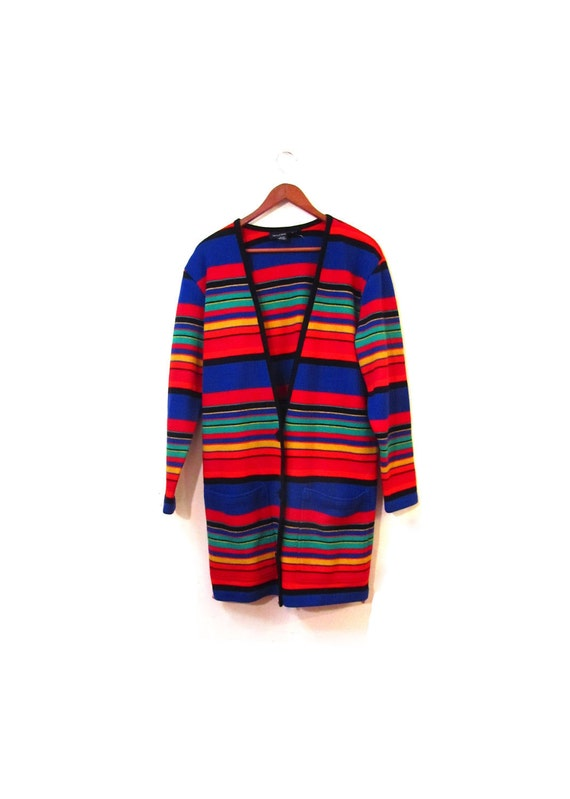 Vintage 90s Oversized Long Striped Button Up Wool Cardigan xs s