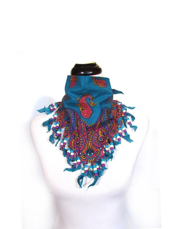 Vintage 80s Southwestern Fringed and Beaded Turquoise Neck Scarf retro native american indian hipster burning man indie