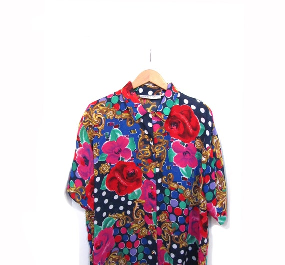 Vintage 80s Oversized Sheer Floral Abstract Print NU WAVE Club Kid Button Up Blouse s-xxl