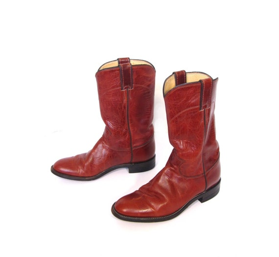 Vintage Laredo Sienna Red Low Heel Leather Justin Cowboy Ankle Boots womens 6.5