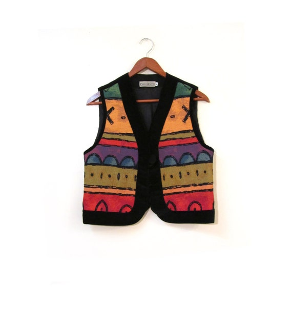 Vintage 80s Colorful Woven Cotton Abstract Tribal Blazer xs s