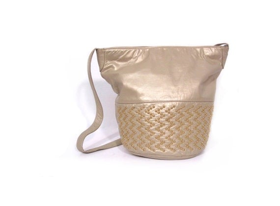Vintage 80s Dusted Gold STUDDED Leather Bucket Purse