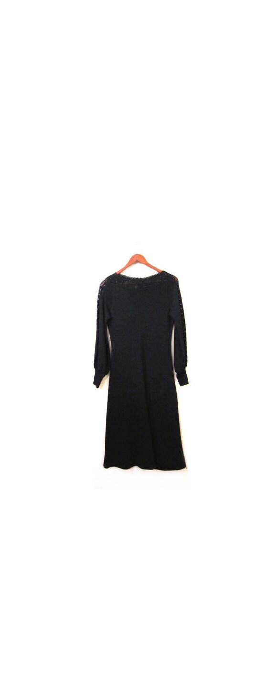 reserved Vintage 60s Black Crocheted Cocktail Dress s m