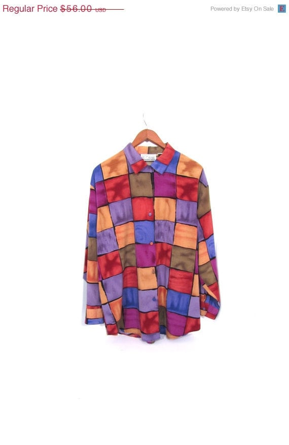 reserved Vintage 90s Oversized Colorblock Button Up Oxford Blouse s m l