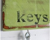 Hand-stamped, Key Rack / Organizer, Green / Black, Distressed, 10 x 4.5 - GO GREEN