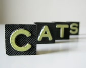 "Vintage Wood Letters, Set of 4 - black, gifts for her, retro, animals, small, vintage decor, mother's day gift - ""CATS"""