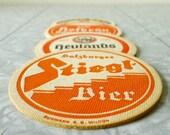 Vintage German Beer Coasters, Orange, Yellow Set of 4 - drink coasters, novelty gift, gifts for him, barware - VIER FOR BIER