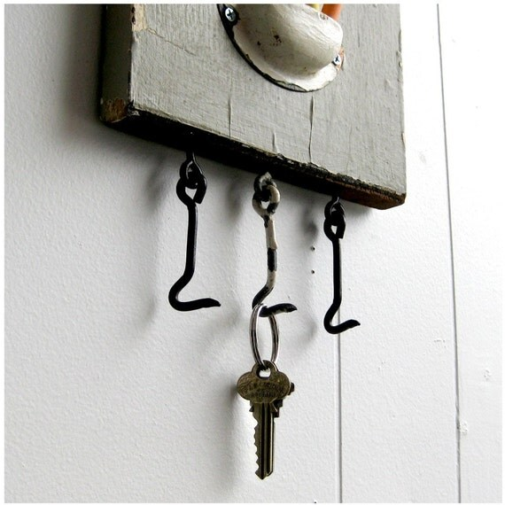 Key Rack \/ Chalkboard made from Vintage, Salvaged Porch Baluster 24 x 7.5 - CHALK THE PLANK