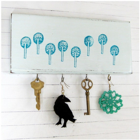 SALE - Woodland-themed, Key Rack / Organizer, Teal Trees on Light Blue, 10 x 4.5 - FORAGING the FOREST