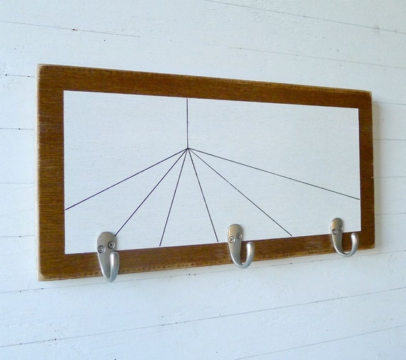 Wood coat rack black and white geometric wall by White wooden coat hooks
