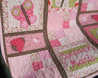 Baby Quilt Girl - Pink Butterfly Girl Quilt Butterfly Quilt Ladybugs Flowers Girl Quilt Pink Chocolate Brown Baby Quilt