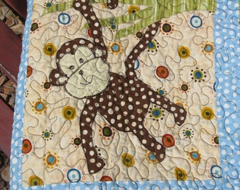 Baby Quilt Boy - Blue Brown Baby Monkey Quilt - Zebra Elephant - Blue Green Chocolate Brown